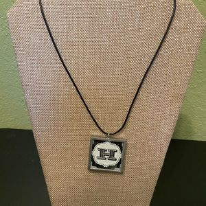 Reversible Initial  Necklace on Black Leather Cord